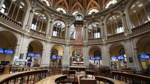 Un aspecto del interior de la Bolsa de Madrid