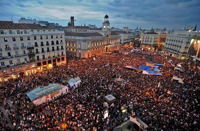 El movimiento 15-M celebró en la Puerta del Sol el primer aniversario de su nacimiento