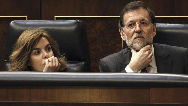 El presidente y la vicepresidenta del Gobierno, durante el debate parlamentario del pasado jueves.
